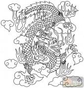 龙-白描图-云中飞龙-long22-白描龙图