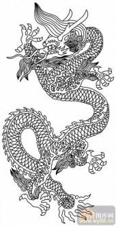 龙-白描图-龙盘虎踞-long19-传统龙图案