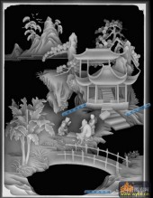 琴棋书画耕-对弈-棋-琴棋书画精雕灰度图