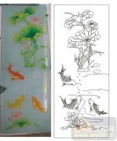 2011设计艺术玻璃刻绘-荷花鱼2-玻璃雕刻