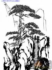 2010.4.3迎客松-白描图-通天栈道-yks023-迎客松线描图
