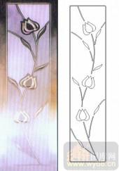 喷砂玻璃-浮雕贴片-花卉-00093