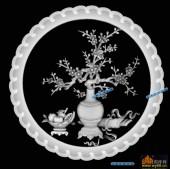 圆盘雕图灰度图-023-梅花-009-圆盘雕图灰度图案
