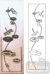 玻璃雕刻-浮雕贴片-蜻蜓荷叶-00096