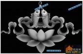 鱼图-荷花鲤鱼-017-蝙蝠鱼灰度图