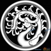 草龙-团龙-099-龙凤灰度图