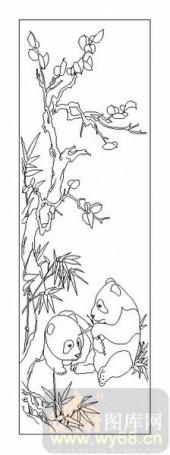 04花草禽鸟-熊猫-00027-喷砂玻璃图库