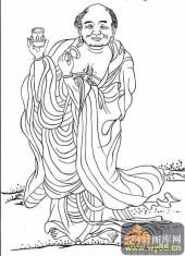 18罗汉3-白描图-罗汉7-罗汉雕刻图案