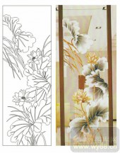 2011设计艺术玻璃刻绘-清莲益香-雕刻玻璃图案