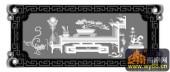 松 扇子 桌子 回纹边框-玉石灰度图