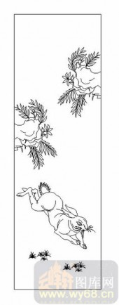 03动物系列-兔子-00027-雕刻玻璃图案