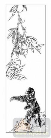 03动物系列-猿猴摘桃-00081-雕刻玻璃