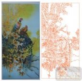 2011设计艺术玻璃刻绘-树鸟-喷砂玻璃图库