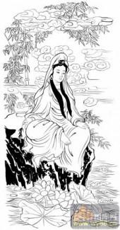 观音-白描图-200紫竹观音-7-观音菩萨雕刻图案