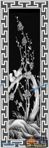 01-花鸟-076-花鸟精雕灰度图