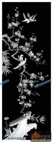 01-梅花鸟-008-花鸟精雕灰度图