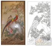 2011设计艺术玻璃刻绘-锦鸡-装饰玻璃