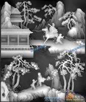 八仙多宝格-蓝采和-张国老-八仙多宝格灰度图案