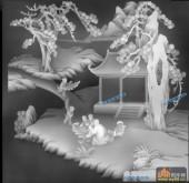 综合-五童-琴棋书画浮雕灰度图