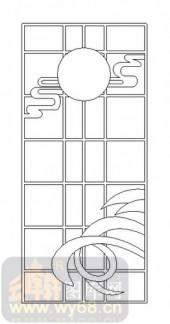 雕刻玻璃图案-11门窗组合-风景-00078