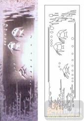 雕刻玻璃-浮雕贴片-热带鱼-00008