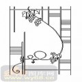 雕刻玻璃-01单门(1)-葡萄藤-00081