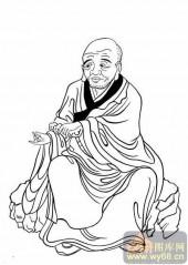 20罗汉图-白描图-1第壹尊阿若�x陈如尊者-罗汉雕刻图案