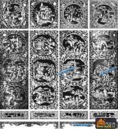 百子图002-多子多福(云丝)---顶柜-百子图精雕灰度图