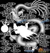 03-龙戏-041-龙凤浮雕图库