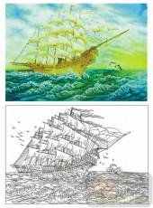 2011设计艺术玻璃刻绘-一帆风顺-装饰玻璃