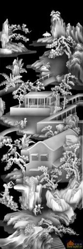 八仙图-亭台楼阁-03-雕刻灰度图