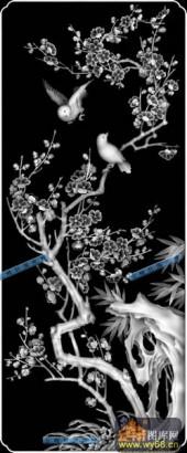 04-梅花-012-花鸟浮雕灰度图