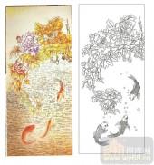 2011设计艺术玻璃刻绘-富贵缘-雕刻玻璃