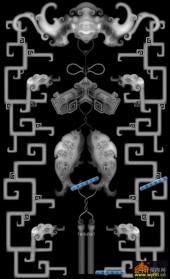 鱼图-双鱼-006-雕刻灰度图