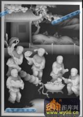 百子图001-送财童子-沙发小2(344.24×244.35×10.24)-百子图灰度图案