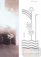 艺术玻璃图库-浮雕贴片-鱼和花-00002