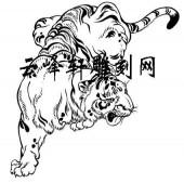 虎3-矢量图-虎虎生威-103-虎雕刻图案
