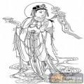 观音-白描图-11持莲观音-2-观音菩萨雕刻图案