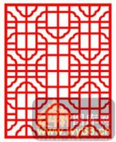 中式镂空装饰001-古朴-中式镂空装饰001-027-木雕花镂空隔断