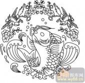 100个中国传统吉祥图-矢量图-鲤鱼梅花-B-013-中国图片