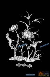 04-荷花-044-花鸟雕刻灰度图