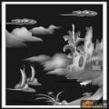 山水 船 云-灰度图库素材