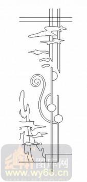 雕刻玻璃-06四扇门(2)-抽象图案-00079