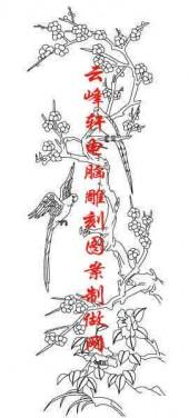 梅兰竹菊-白描图-梅花 鸟-mlxj060-梅兰竹菊白描图