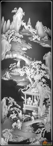 八仙图-桃花源-04-雕刻灰度图