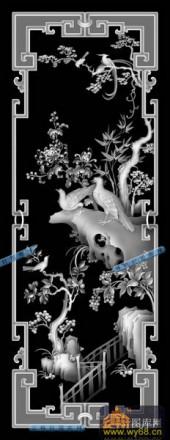 01-孔雀-005-花鸟浮雕灰度图