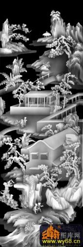 八仙006-亭台楼阁-03-浮雕灰度图