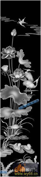 01-鸳鸯-020-花鸟浮雕灰度图