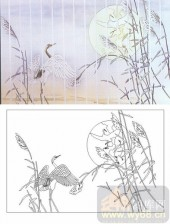 05肌理雕刻系列样图-仙鹤-00183-喷砂玻璃图库