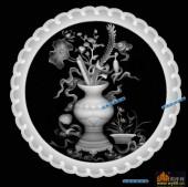 圆盘雕图灰度图-023-花瓶-003-圆盘雕图精雕灰度图